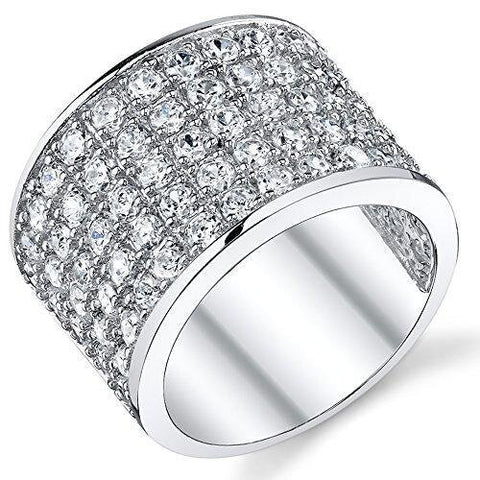 11mm Iced Sterling Silver Cubic Zirconia Pave Ring