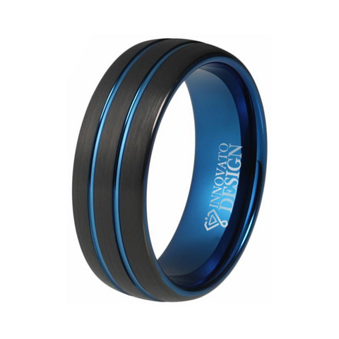 Brushed Dome Double Groove Blue & Black Tungsten Ring