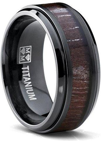 Dark Zebra Koa Rosewood Inlay Black Titanium Wedding Band