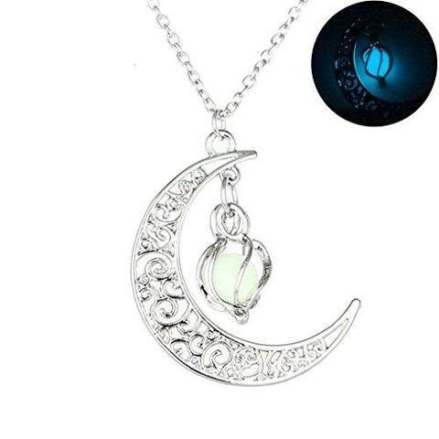 Filigree Glim Cage Crescent Moon Glow in the Dark Necklace