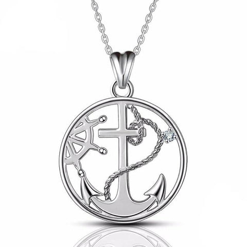 Anchor Wheel Sterling Silver Necklace