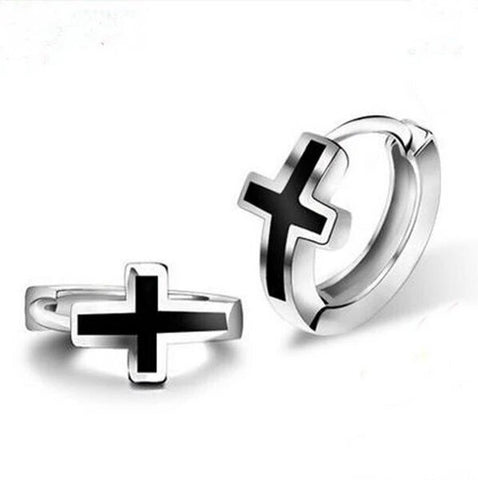 925 Sterling Silver Black Cross Hoop Earrings