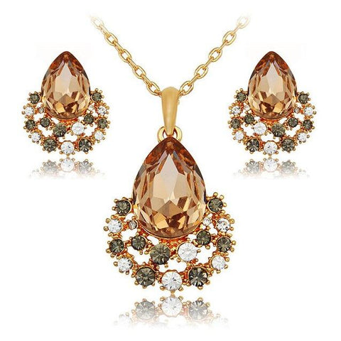 2PC Gold Plated Stainless Pear Cut Crustal Nest Jewelry Set