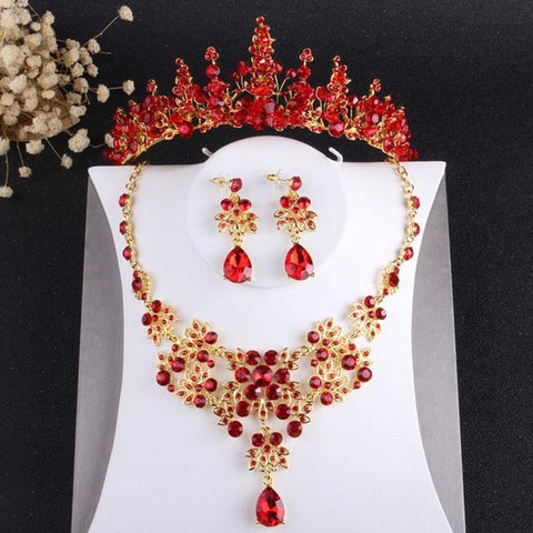 Pointed Floral Red Crystal Gold Stainless Bridal Tiara Set