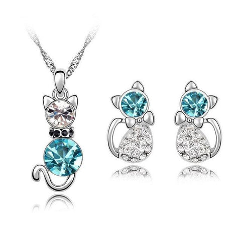 Adorable Cat Round Colored Crystal Earring Necklace Set