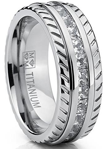 Princess-Cut Cubic Zirconia Chevron Titanium Wedding Band
