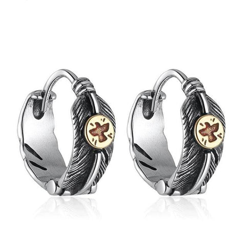 Ethnic Feather & Eagle Sterling Silver Huggie Earrings