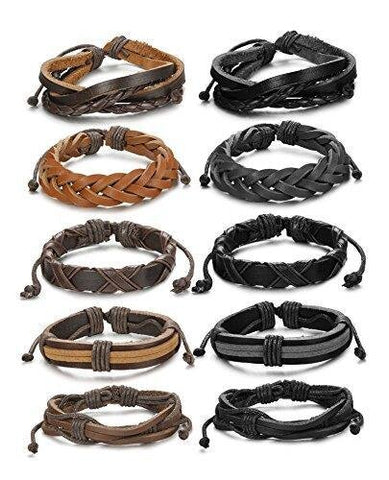 Unisex Ten pieces Set Braided Adjustable Leather Bracelet