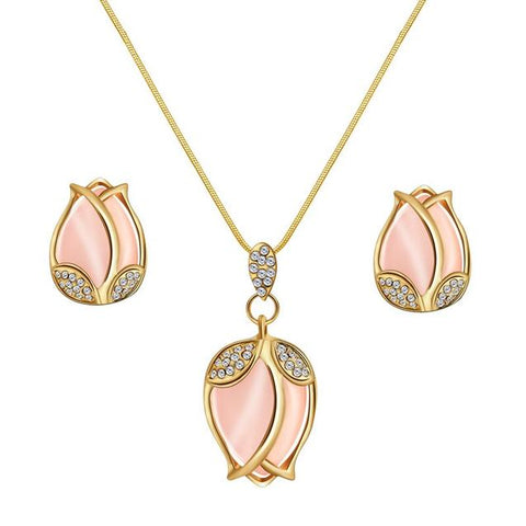 2PC Rose Crystal Bud Gold Plated Stainless Jewelry Gift Set
