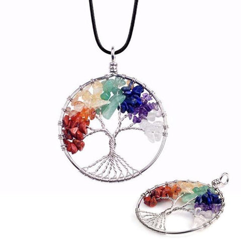 Colorful Tree of Life Pendant Cord Necklace (6 Available Color)