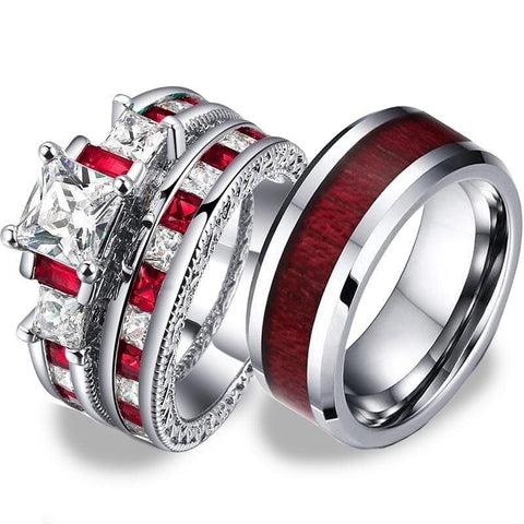 Red & White Crown Wood Stainless Rings Set