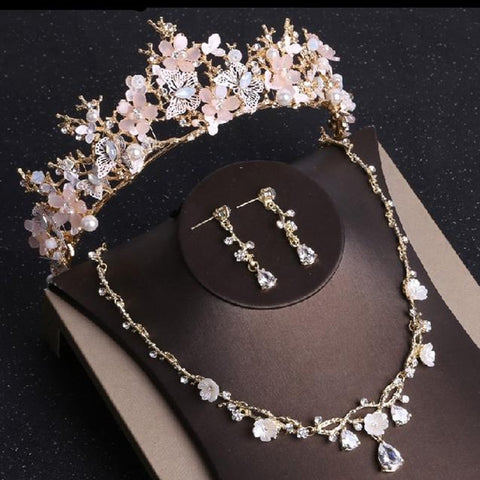 Pink Floral Butterfly Gold Stainless Wedding Crown Set