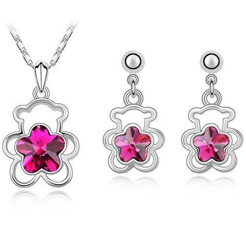 Pink Floral Crystal Bear Stainless Steel Earring Necklace Set