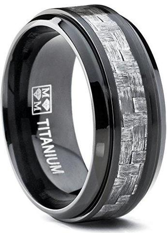 Frost Gray Carbon Fiber Inlay Black Titanium Wedding Band