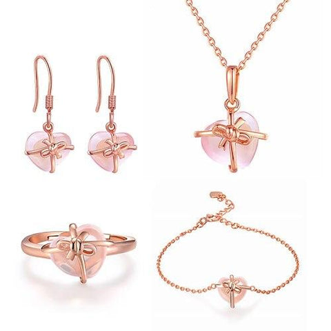 4PC Pink Heart Crystal Rose Gold Plated Stainless Jewelry Set