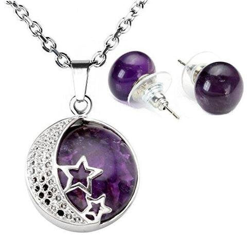 Birthstone Round Start Moon Pendant Earring Set