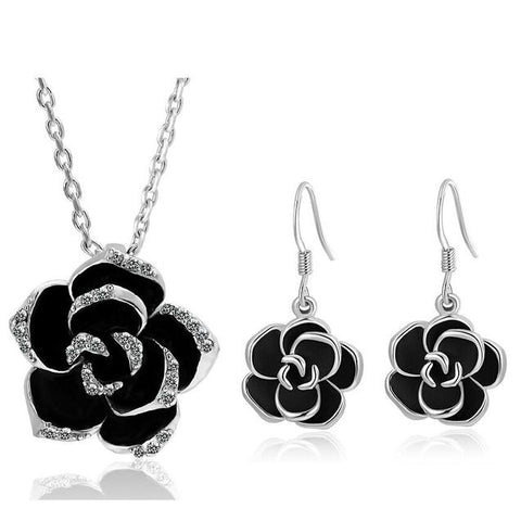Black Rose Stainless Steel Necklace Earrings Set
