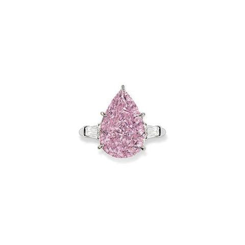 Fancy Vivid Pink Colored Diamond Ring