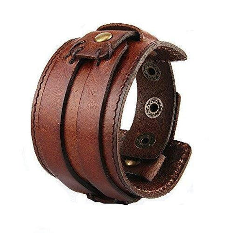 Handmade Cross Leather Men's Wrap Bangle Bracelet B