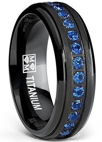 Sapphire Blue Cubic Zirconia Brushed Black Titanium Wedding Ring