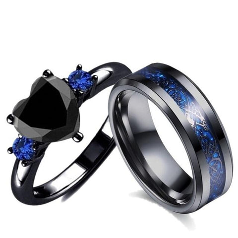 2PC Black Heart Blue Dragon Tungsten Ring Set