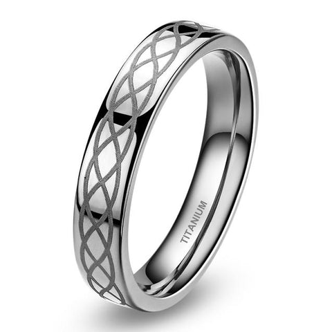 4mm Infinity Knot Engraved Titanium Ring