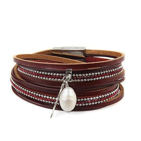 Casual Leather Magnetic Buckle e Wrap Bracelet