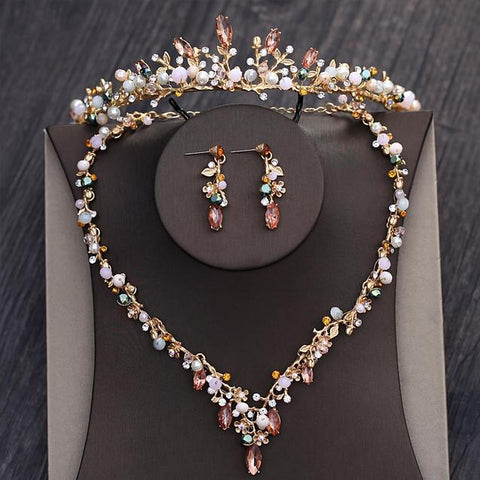 Gold-Tone Pearl Pink Crystal Crown Stainless Jewelry Set