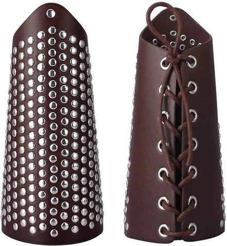 Laced Up Beaded Leather Fashion Leather Arm Guard