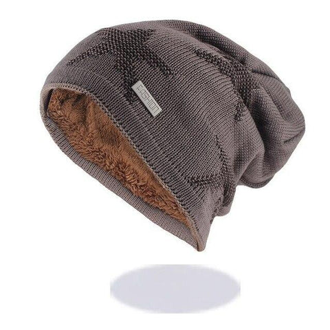 Star Embroidered Fur Lined Wool Knitted Cap (5 Available Color)