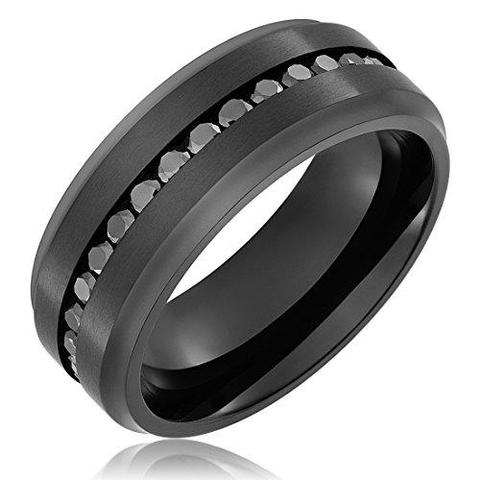 Black Round CZ Sable Black Titanium Ring Wedding Ring