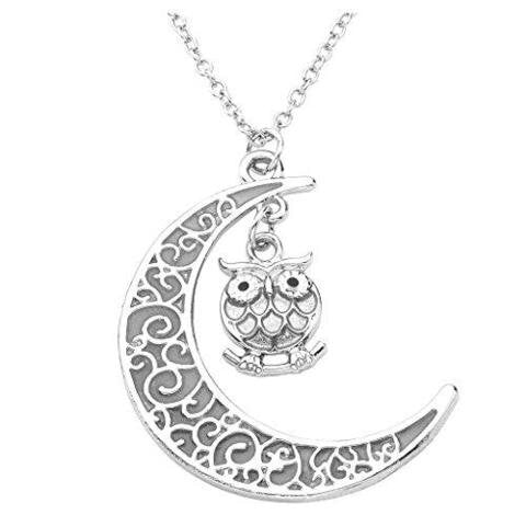 Chic Glow In The Dark Owl Crescent Moon Pendant Necklace