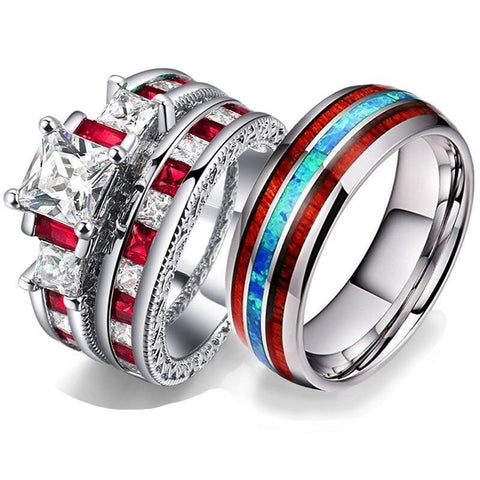 Crown Sea Bed & Wood Inlay Stainless Ring Set