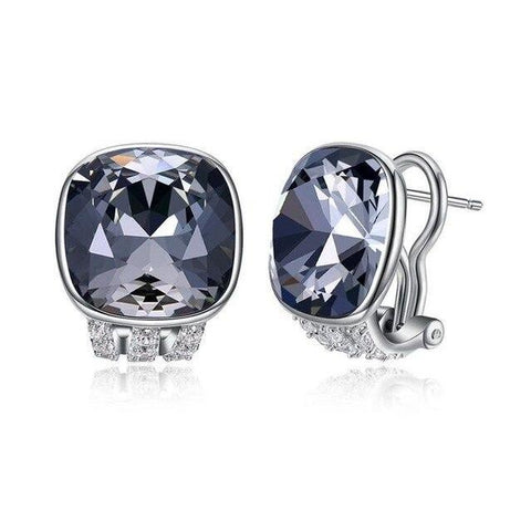 Cushion-Cut Black Zirconia Sterling Silver Stud Earrings (