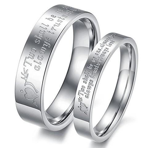 Silver Stainless Steel Engrave Love Quotes LGBTQ Wedding Ring Set