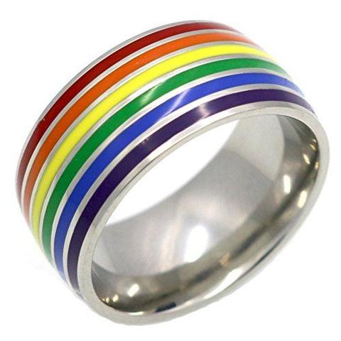Stainless Steel Rainbow Gay Lesbian Freedom Wedding Ring