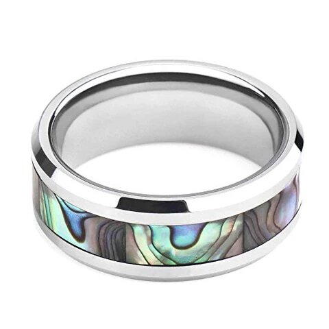 Titanium with Abalone Shell Inlay Ring for Men and Women