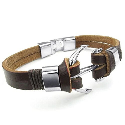 Brown and Silver Leather Anchor Cuff Bangle