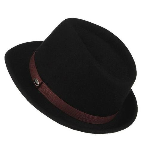 Patterned Brown Leather Hatband Black Wool Hat