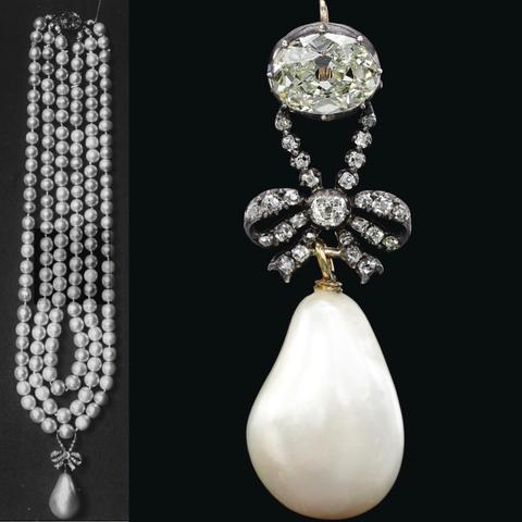 18th-Century Natural Pearl and Diamond Pendant