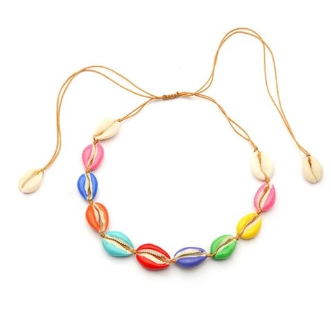 Fun Adjustable Colorful Puka Shell Rope Necklace