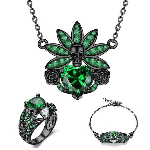 3PC Native Skull Chief Colored Zirconia Stainless Jewelry Set