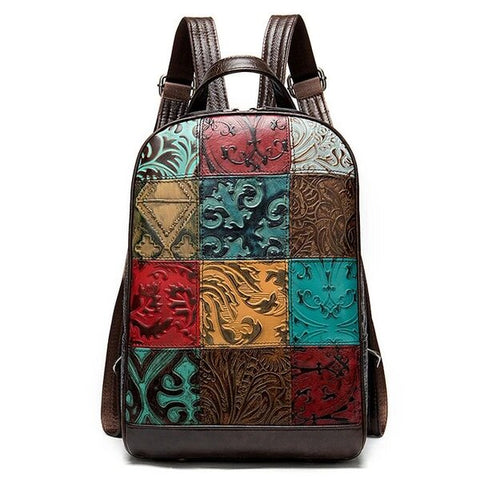 Multi-color Leather Backpack with Textures Patchwork Patterns