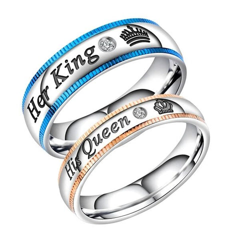 His and Her Silver Plated Stainless Steel Crown and Cubic Zirconia Couple Ring