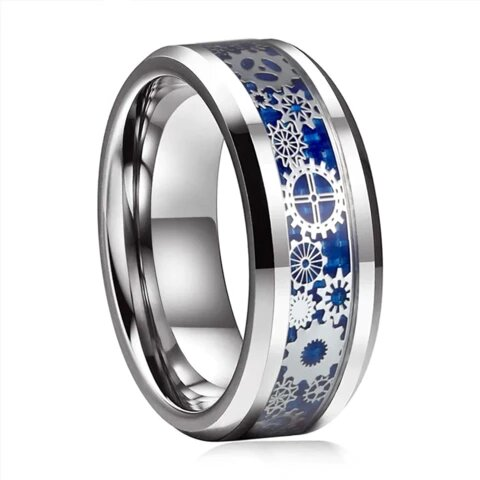 Unisex Silver Gear Design Tungsten Carbide Blue Inlay Wedding Band