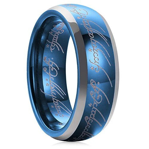 Sapphire Blue Lord of Ring Tungsten Carbide Wedding Band