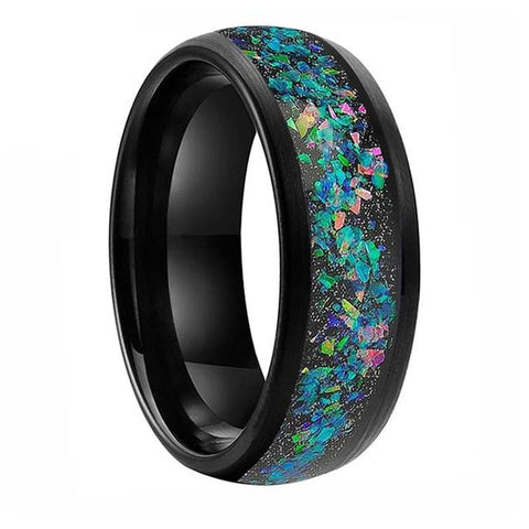Simulated Black Opal Black Tungsten Ring