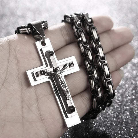 Large Chain Men's Stainless Steel Black and Silver Cross Pendant Necklace