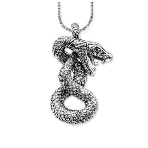 3D Curled Viper Sterling Silver Necklace