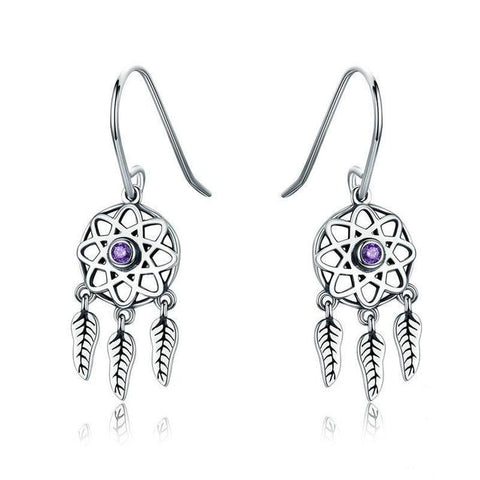 Purple Crystal Dream Catcher Sterling Silver Earrings
